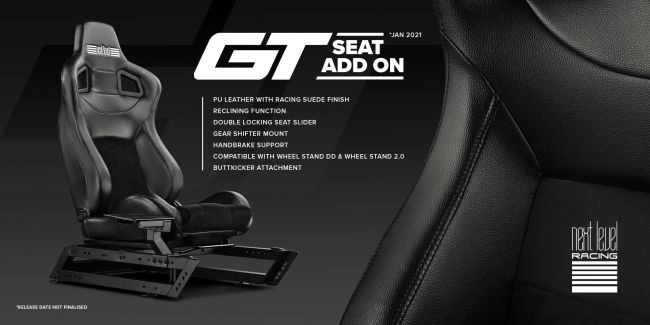 Next Level Racing lanza el GT Seat Add-on en 2021, nuevo asiento para su soporte de volante